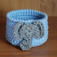 Baby boy elephant nursery, elephant baby shower, blue crochet bowl and gray elephant, little boy room decor, baby shower gift, blue and gray