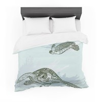 "Sam Posnick ""Sea Turtles"" Green Blue Featherweight Duvet Cover"
