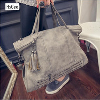 New Fashion Rivet Women Handbag Frosted Women Messenger Bag Large Capacity Women Tote Shoulder Ladies Tassel Bag HQB1338