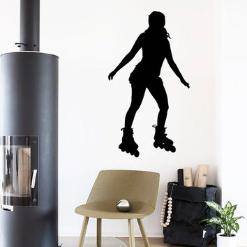 Wall Decals Girl Roller Skater Skating Sport People Home Vinyl Decal Sticker Kids Nursery Baby Room Decor kk514