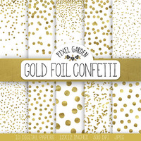 Gold Confetti Digital Paper. Gold Metallic Dot Confetti Scarpbooking Background. Gold Christmas Digital Paper. Gold Snow, Polka Dot Pattern.