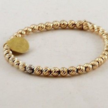 Beaded Stretch Bracelet, 925 Made in Italy -Gold Vermeil