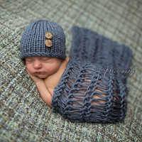 baby Infant Newborn Handmade Grey blanket Crochet Knit  Costume Photograph Prop outfits Baby Caps Hats 0-12months = 1958331972