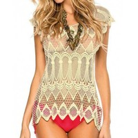 Sexy Openwork Short Sleeve Crochet Cover-Up For Women
