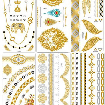 DaLin 6 Sheets Gold Silver and Black Body Temporary Metallic Tattoos Jewelry Inspired Bling Adult Temp Metallic Glitter Art Tattoos Long Lasting, Trendy Tattoo Designs - Necklace, Wrist Bracelet, Elephant, Peacock Feather, Earring, Wings and more