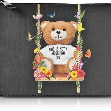Moschino Teddy Bear Black Eco Leather Large Clutch