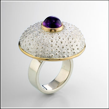 Red Sea Urchin Sterling Silver and 14k Gold Ring