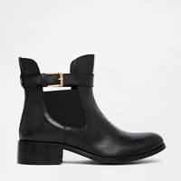Warehouse Cut Out Leather Buckle Chelsea Boots