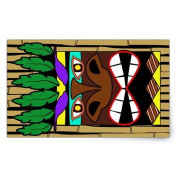 Totem With Bamboo Luau Party Rectangular Sticker