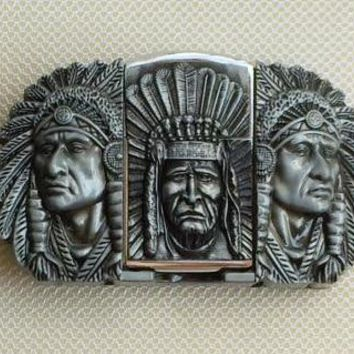 Native American Indian Chief Western Lighter Belt Buckle