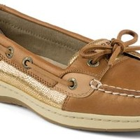 Sperry Top-Sider Angelfish Metallic Slip-On Boat Shoe Linen/Gold, Size 6.5M  Women's Shoes