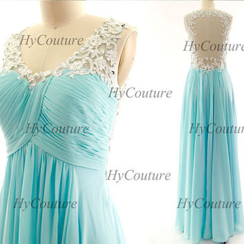 Sky Blue Prom Dresses, Straps Long Chiffon Lace Prom Gown Open Back, Straps Lace Chiffon Formal Dresses, Floor Length Wedding Party Gown