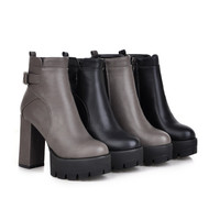 Zipper and Buckle Ankle Boots High Heels Women Shoes Fall|Winter 6796