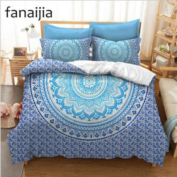 FANAIJIA bohemian printed 3d bedding sets boho Mandala duvet cover set 3pcs Pillowcase full super king size Bedlinen