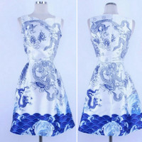 BLUE AND WHITE DRAGON PRINT DRESS