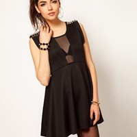 Reverse Studded Mesh Insert Skater Dress at asos.com