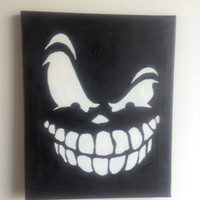 canvas, acrylic, painting, skull, original painting, gothic painting, black painting size 24 x 30 cm