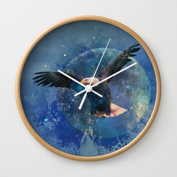 Eagle Moon Wall Clock by Theresa Campbell D'August Art