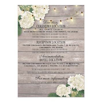 White hydrangea Floral Wedding Details Information Card