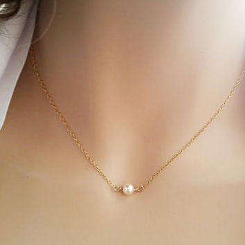 Single Pearl Necklace Gold Fill Swarovski Pearl Necklace Wedding Jewelry for Bridesmaids Pearl Bridal Jewelry Blush Ivory White Cream Dainty