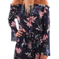 Ruffles off shoulder floral jumper