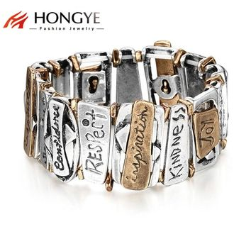 HONGYE Classic Trendy Jewelry Geometric Chunky Letter Carving Bracelet Women 2018 Unisex Steampunk Fashion Bangle Adjustable