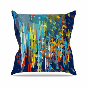 "Frederic Levy-Hadida ""Color Fall"" Blue Multicolor Outdoor Throw Pillow"