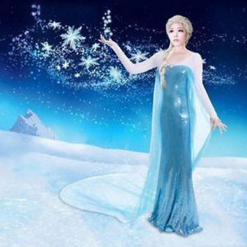 Queen Anna Costume Cosplay Party Coronation Adult Women Gown Dress S-XXL Elsa halloween Olaf Sownman