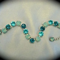 Aqua Teal Crystal Bridesmaid Tennis Bracelet, sabika inspired