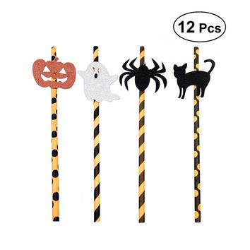 12pcs Halloween Drinking Decorative Funny Cold Plastic Spider Black Cat Pumpkin Disposable Ghost Straws for Halloween Party