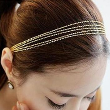 Fashion metal braided multi - layer fringed chain hair with hair accessories hair chain headdress, head chain