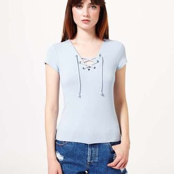 Blue Shortsleeve Lace Up Tee