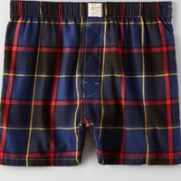 AEO Men's Plaid Flannel Boxer (Blue)