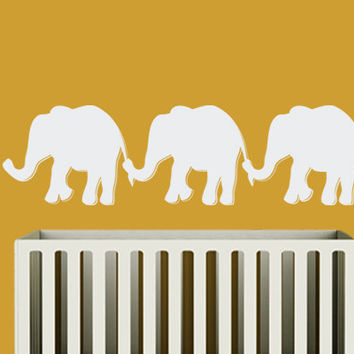 Elephant Wall Decal - Safari Jungle Children's Bedroom Nursery  - Wall Vinyl - Modern Nursery Room Decor