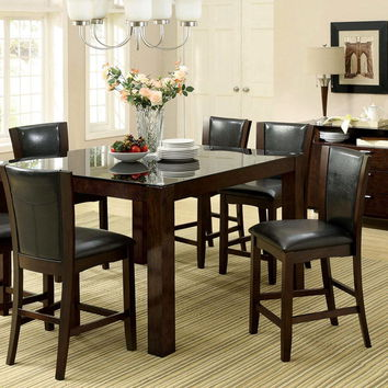 CM3062PT-7PC 7 pc astoria ii dark cherry finish wood glass top counter height dining table set