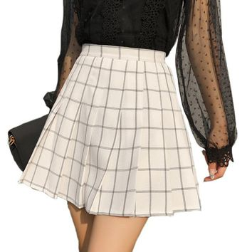 Harajuku Skirts Womens Plaid Pleated Skirt Female Kawaii High Waist Fashion Women Clothing 2018 Summer Style New Skirts Shorts