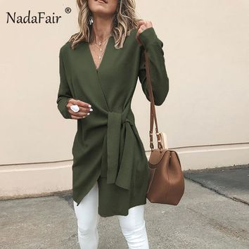 Nadafair V Neck Cardigan Blends Coat Women Open Stitch Lace Up Long Wool Coat Vintage Solid Winter Trench Outerwear Femme