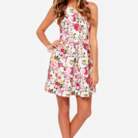 LULUS Exclusive Rose to Fame Ivory Floral Print Dress