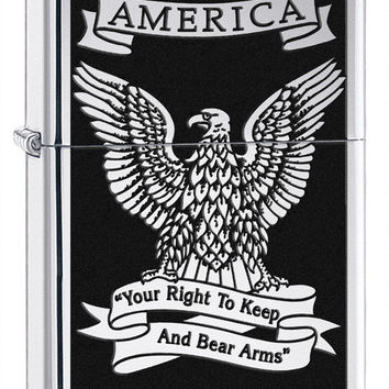 Zippo Right to Bear Arms High Polish Chrome Lighter
