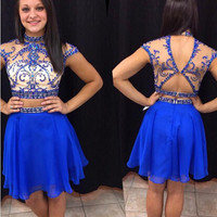 Royal Blue Two Pieces Homecoming Dresses Open Back Style