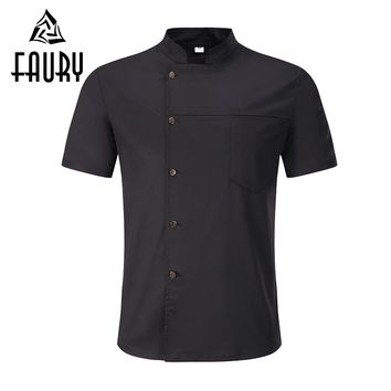 Unisex Breathable Chef Jackets Short Sleeve Single Breasted Solid Catering Cafe Bakery Waiter Work Uniforms Kitchen Coats Aprons
