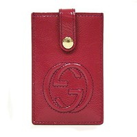 Gucci 'Soho' Soft Patent Leather Card Case 338331, Magenta Pink