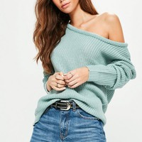 Missguided - Green Off Shoulder Knitted Sweater