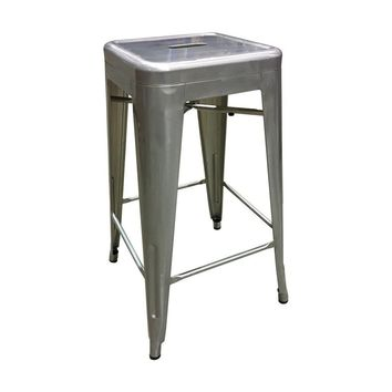 """Liz"" Tolix Style Reproduction Galvanized Gun Metal Bar Stool - 66 cm"