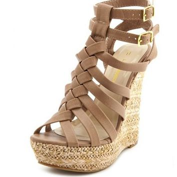 Braided T-Strap Woven Wedge Sandal: Charlotte Russe