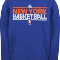 New York Knicks Blue Youth adidas On-Court Practice Hooded Fleece Sweatshirt