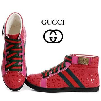GUCCI Women Fashion Print High-Top Flats Shoes
