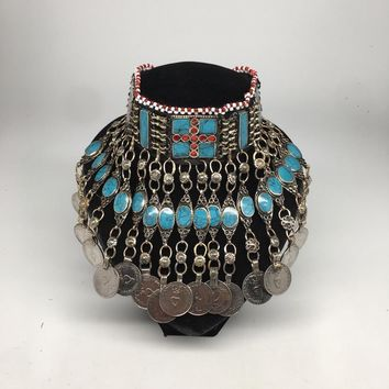 Afghan Kuchi Choker Tribal Blue Turquoise Inlay Jingle Coins Necklace, Ck150