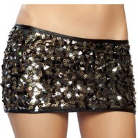 Black and Gold Sequin Skirt : Reflective Holographic Sequin Miniskirt