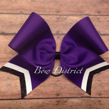 "3"" Purple Team Cheer Bow with White Glitter and Black Glitter Tail Stripes"